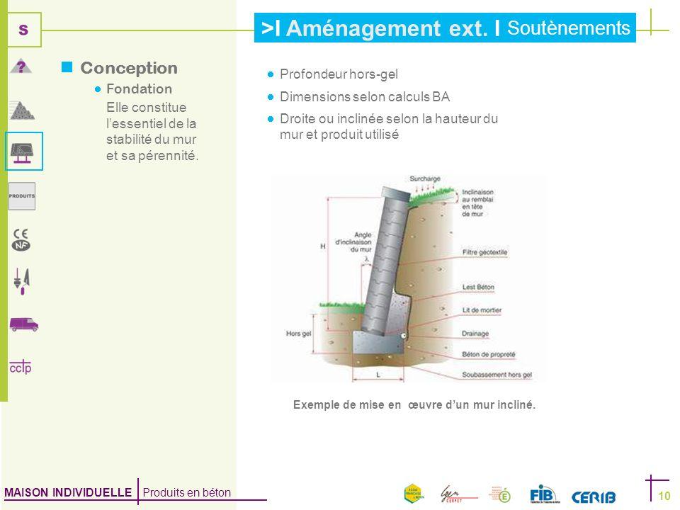 Conception Fondation Profondeur hors-gel Dimensions selon calculs BA