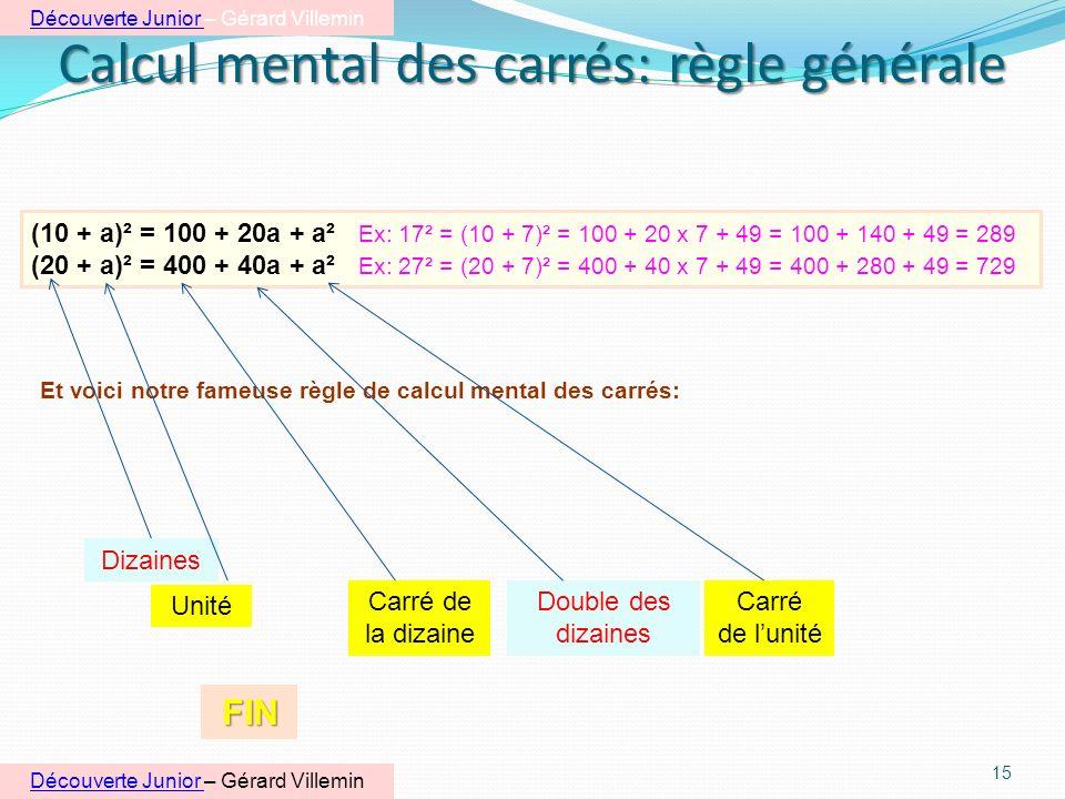 Calcul mental des carrés: règle générale