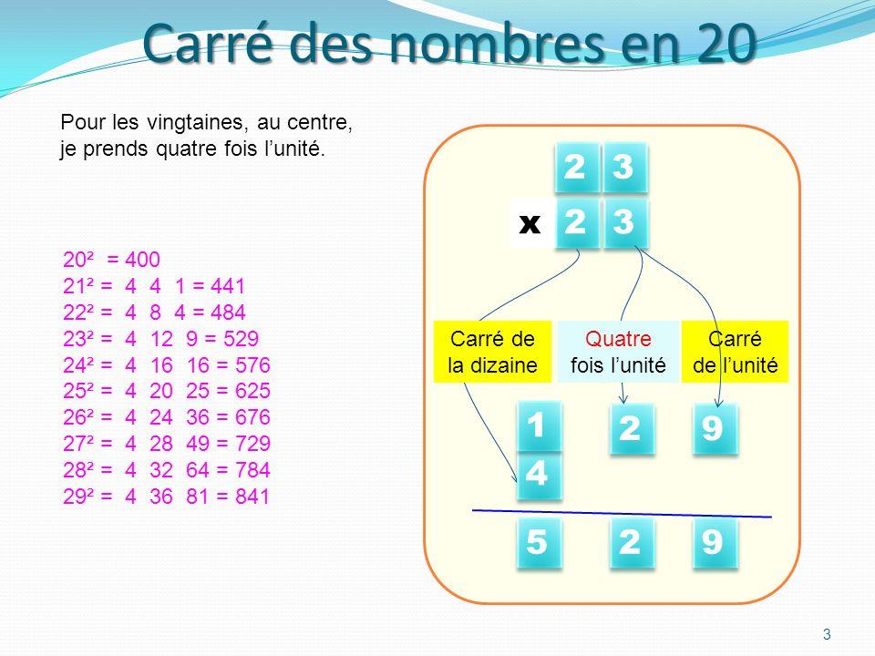 Carré des nombres en 20 Pour les vingtaines, au centre, je prends quatre fois l'unité. 2. 3. 9. Carré.