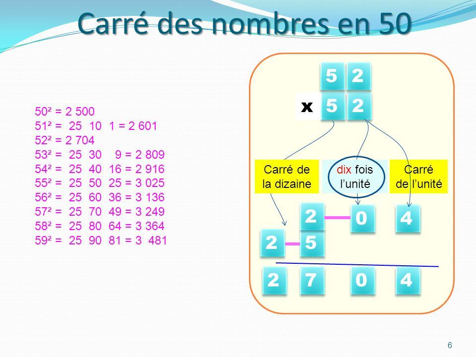 Carré des nombres en 50 5 2 4 x 7 Carré de l'unité dix fois l'unité