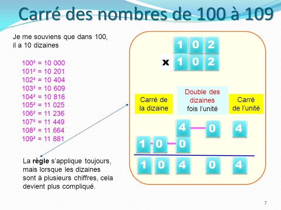 Carré des nombres de 100 à 109 1 2 x 1 x 2 4 4 1 1 4 4