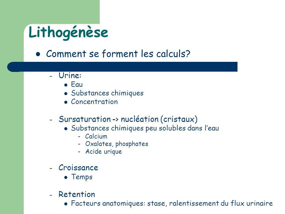 Lithogénèse Comment se forment les calculs Urine: