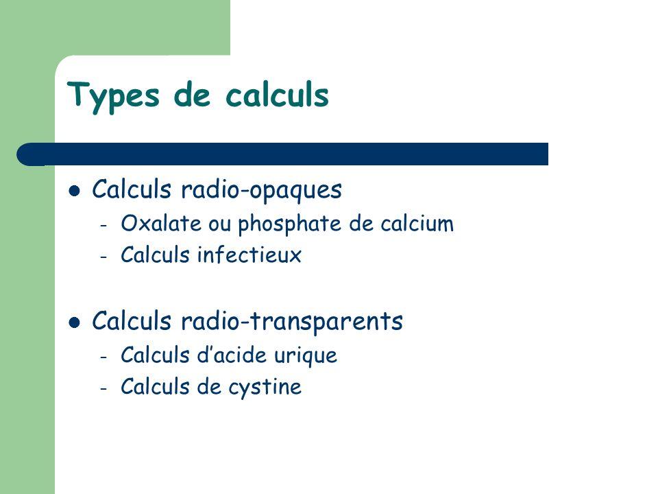 Types de calculs Calculs radio-opaques Calculs radio-transparents
