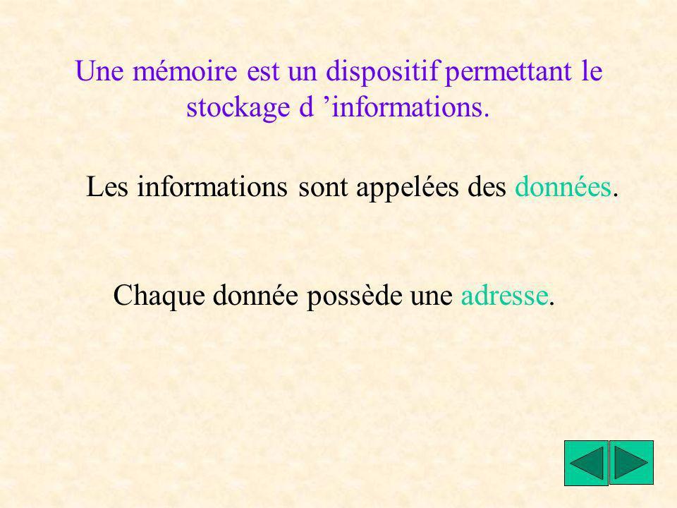 Une mémoire est un dispositif permettant le stockage d 'informations.