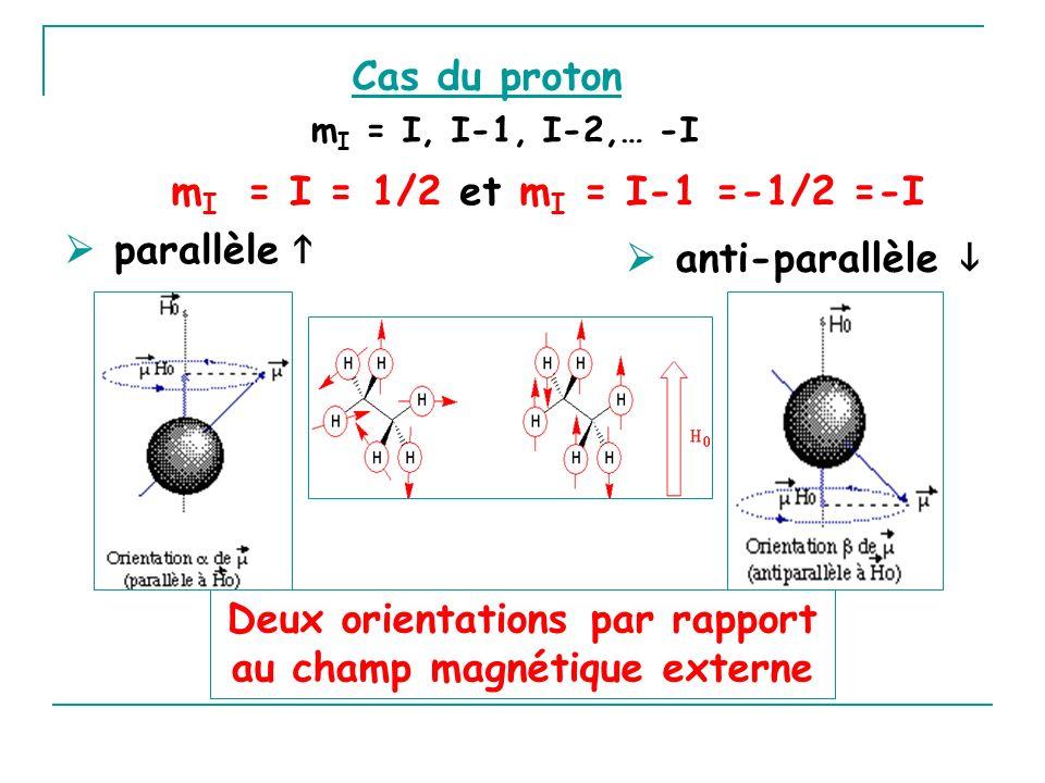 Deux orientations par rapport au champ magnétique externe