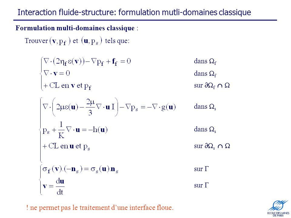 Interaction fluide-structure: formulation mutli-domaines classique