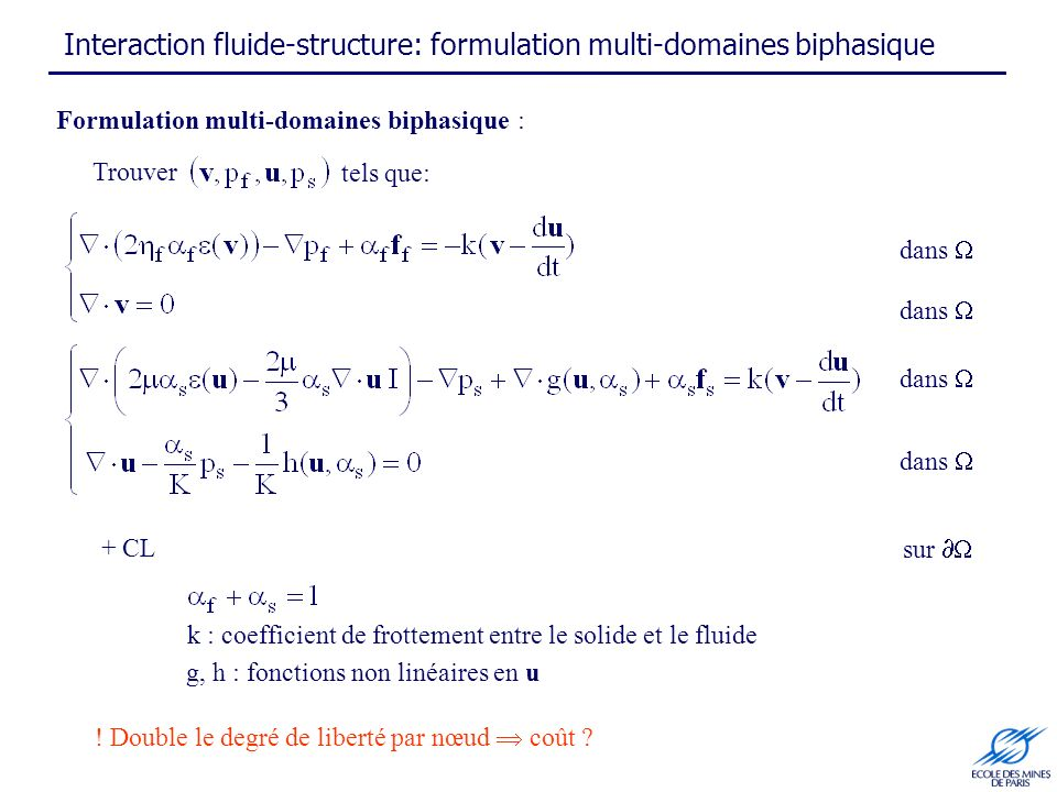 Interaction fluide-structure: formulation multi-domaines biphasique