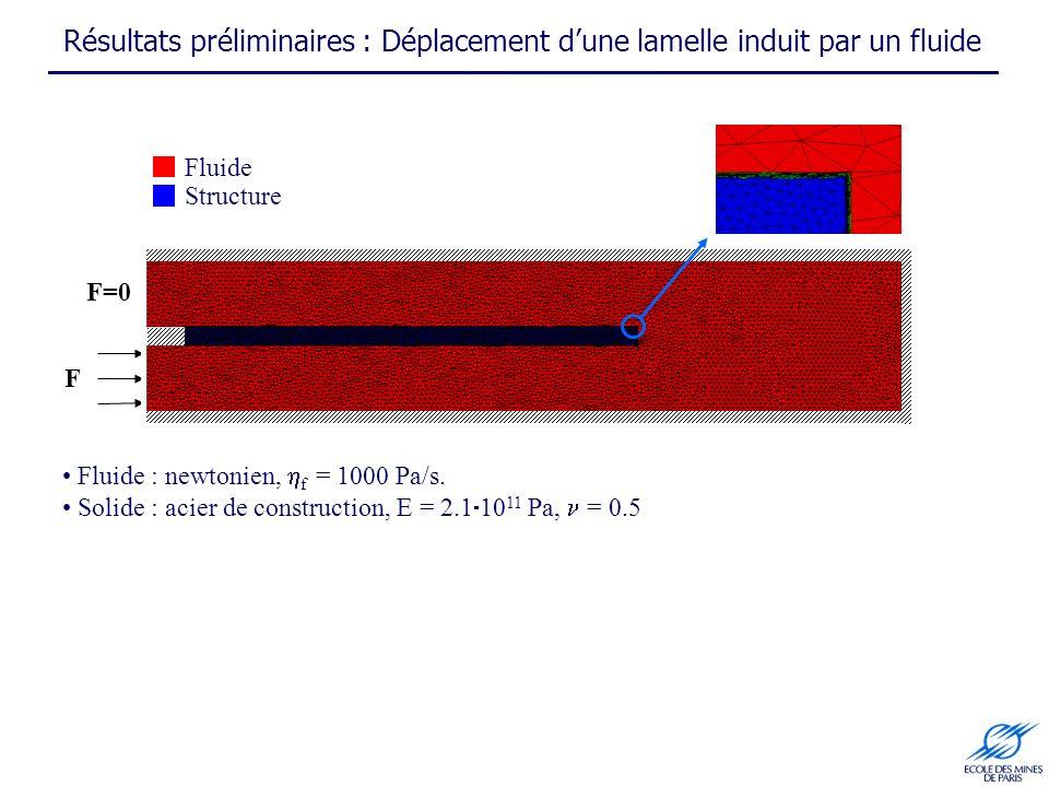 Résultats préliminaires : Déplacement d'une lamelle induit par un fluide