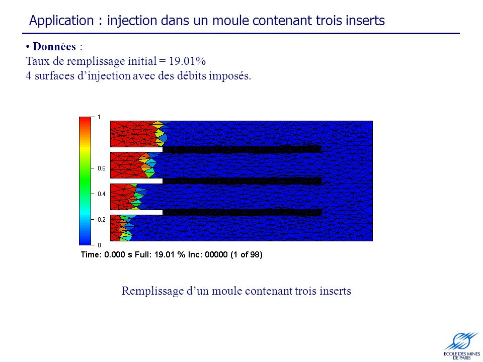 Application : injection dans un moule contenant trois inserts