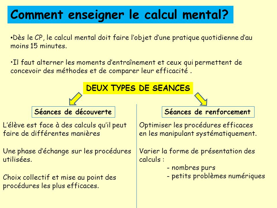 Comment enseigner le calcul mental