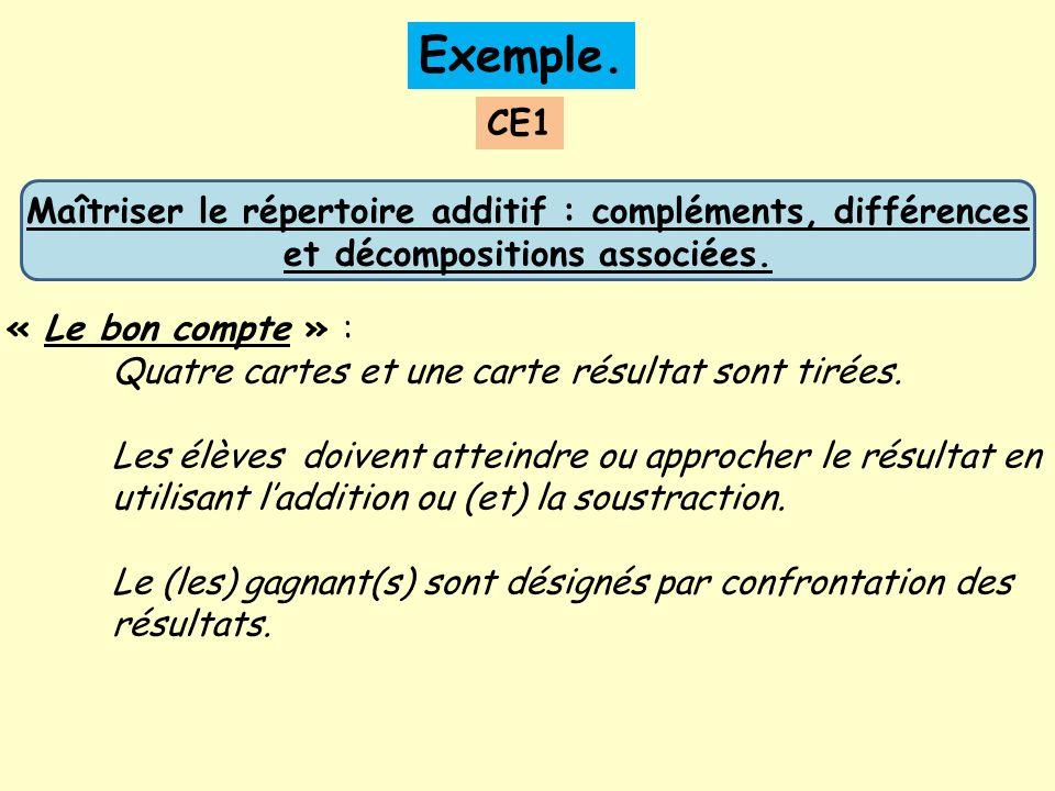 Exemple. CE1. Maîtriser le répertoire additif : compléments, différences et décompositions associées.