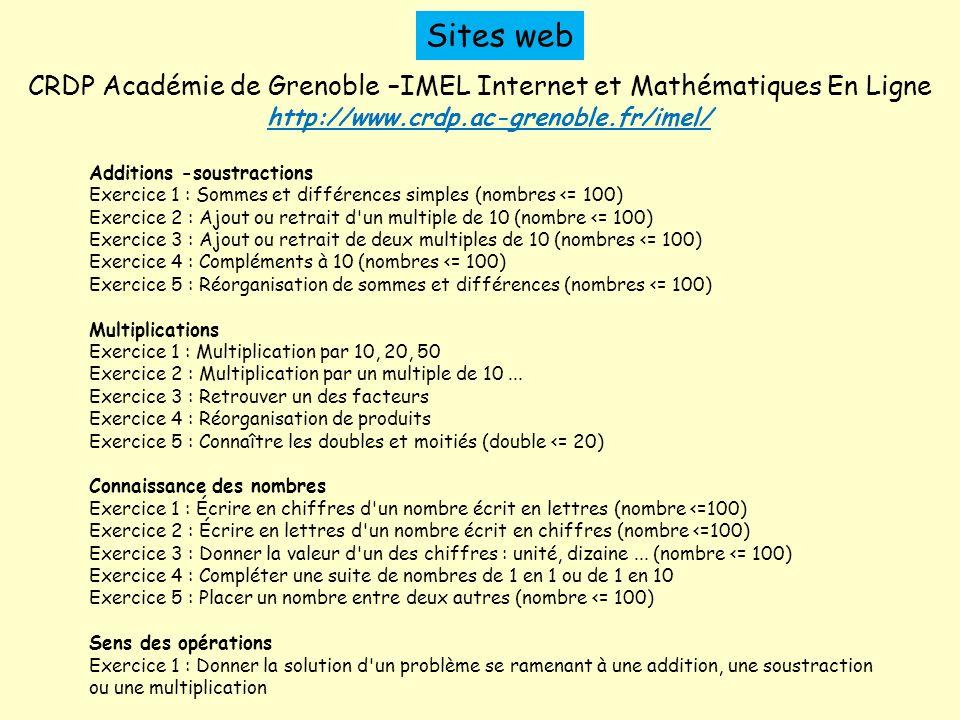 Sites web CRDP Académie de Grenoble –IMEL Internet et Mathématiques En Ligne. http://www.crdp.ac-grenoble.fr/imel/