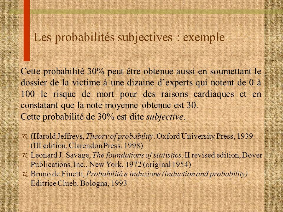 Les probabilités subjectives : exemple