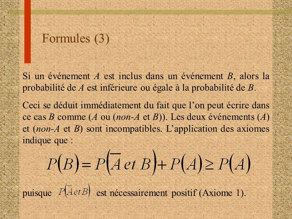 Formules (3) Si un événement A est inclus dans un événement B, alors la probabilité de A est inférieure ou égale à la probabilité de B.