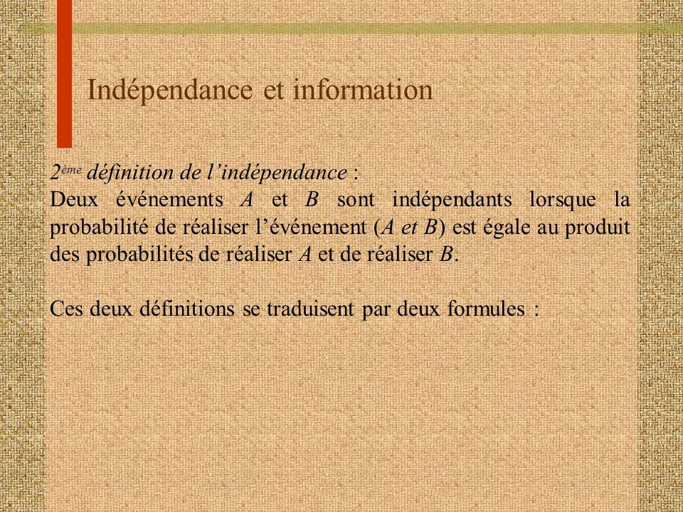 Indépendance et information