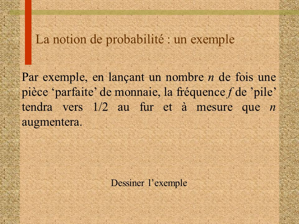 La notion de probabilité : un exemple