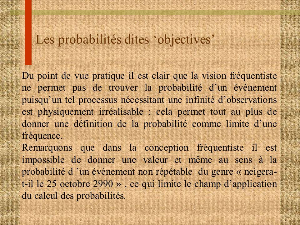 Les probabilités dites 'objectives'