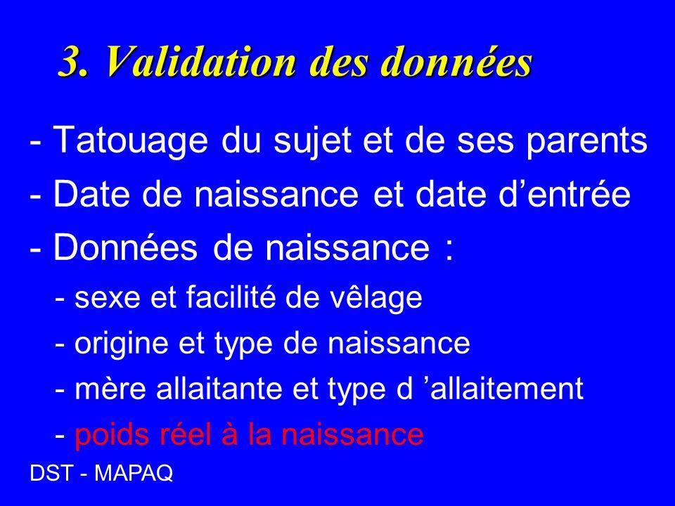3. Validation des données