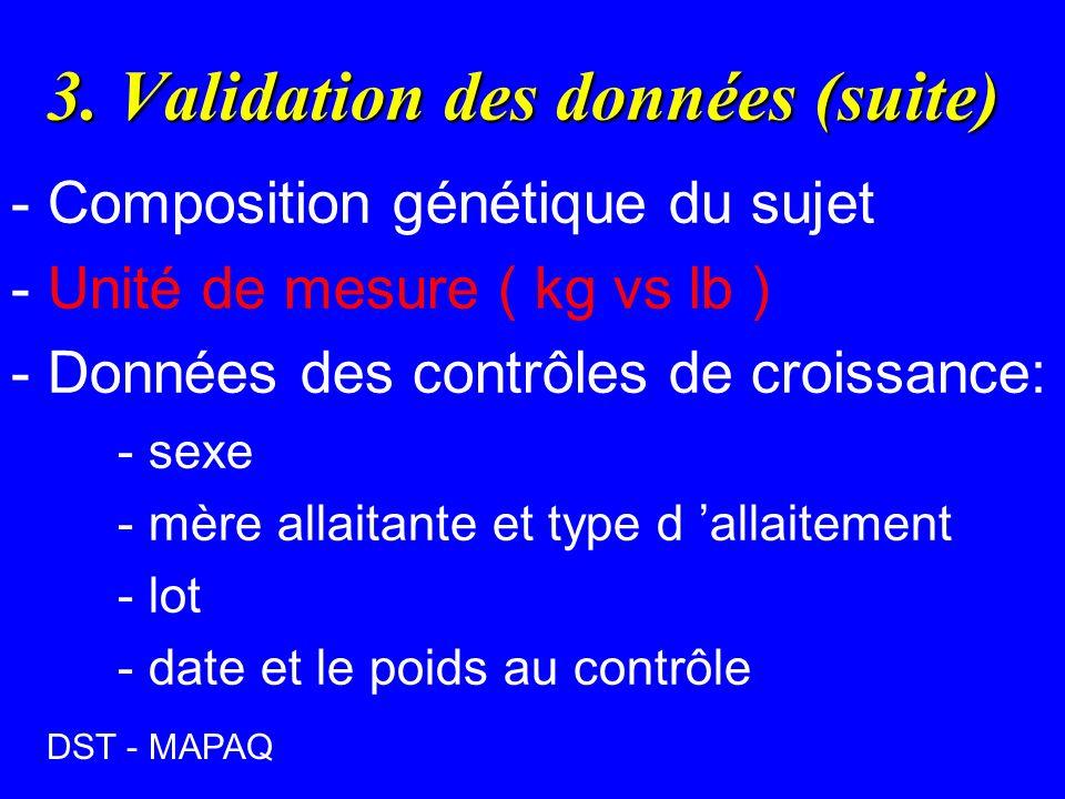 3. Validation des données (suite)