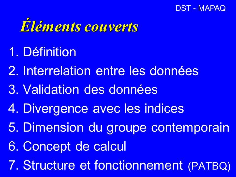 Éléments couverts 1. Définition 2. Interrelation entre les données