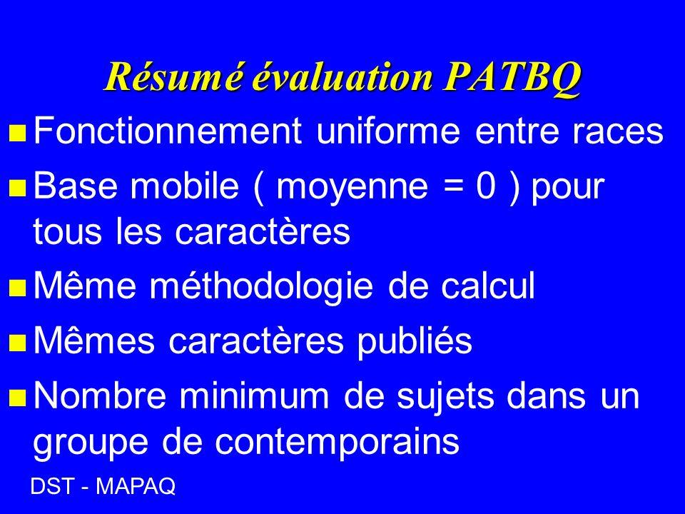 Résumé évaluation PATBQ