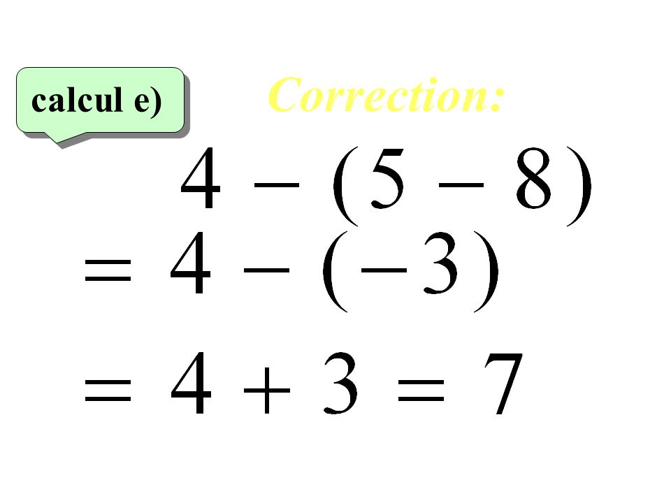 Correction: calcul e)‏ 25