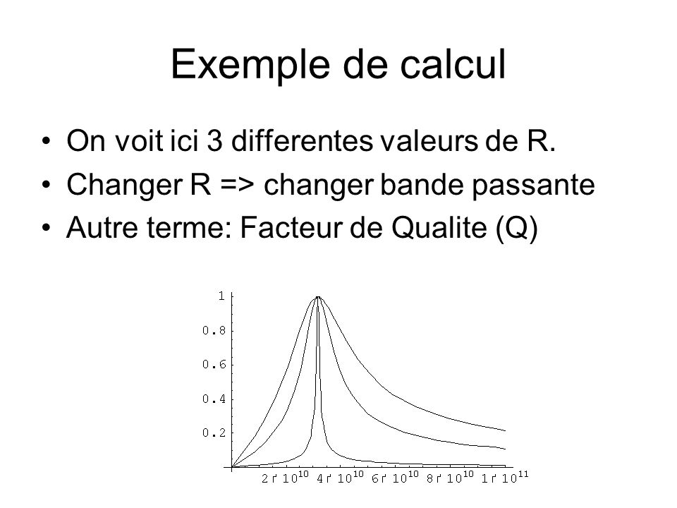 Exemple de calcul On voit ici 3 differentes valeurs de R.