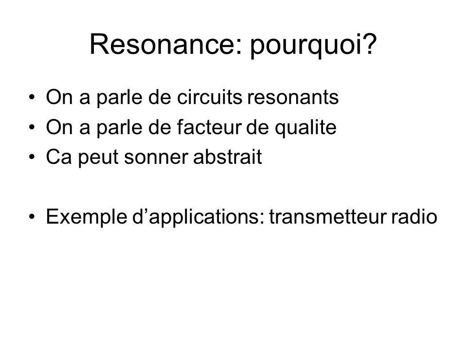 Resonance: pourquoi On a parle de circuits resonants