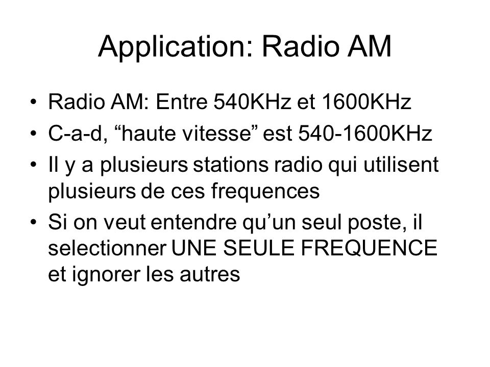 Application: Radio AM Radio AM: Entre 540KHz et 1600KHz