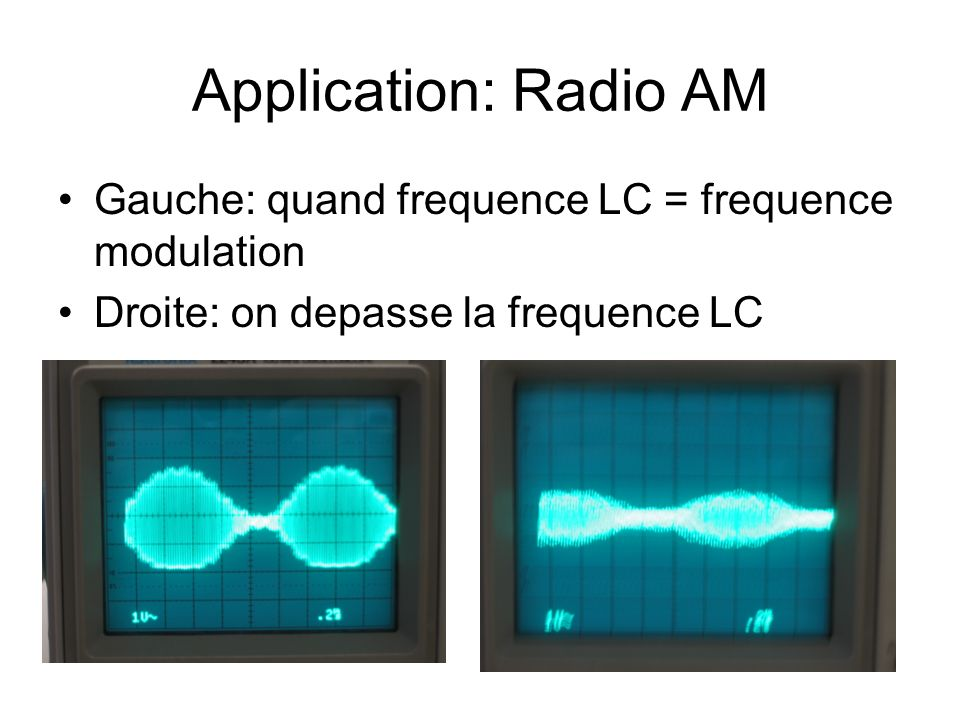 Application: Radio AM Gauche: quand frequence LC = frequence modulation.