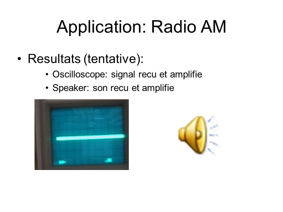 Application: Radio AM Resultats (tentative):