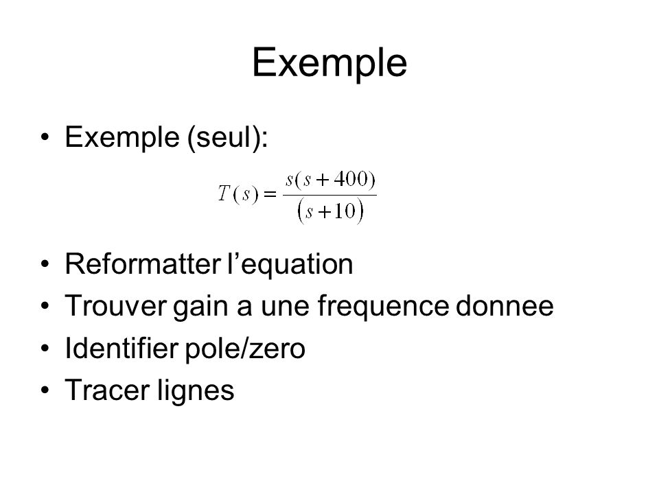 Exemple Exemple (seul): Reformatter l'equation