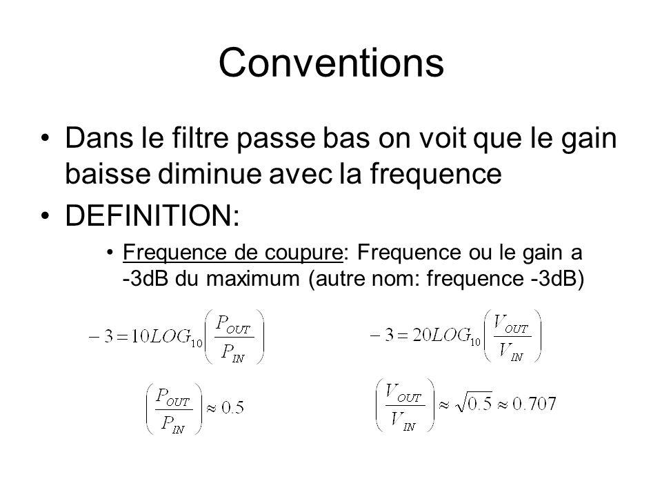 Conventions Dans le filtre passe bas on voit que le gain baisse diminue avec la frequence. DEFINITION: