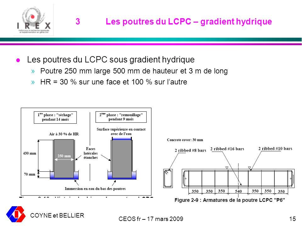 3 Les poutres du LCPC – gradient hydrique