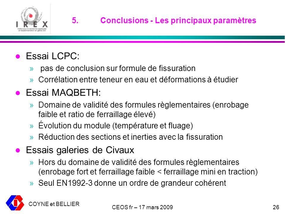 5. Conclusions - Les principaux paramètres