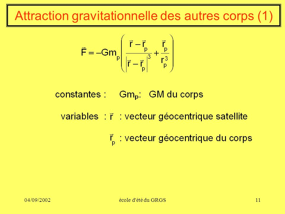 Attraction gravitationnelle des autres corps (1)