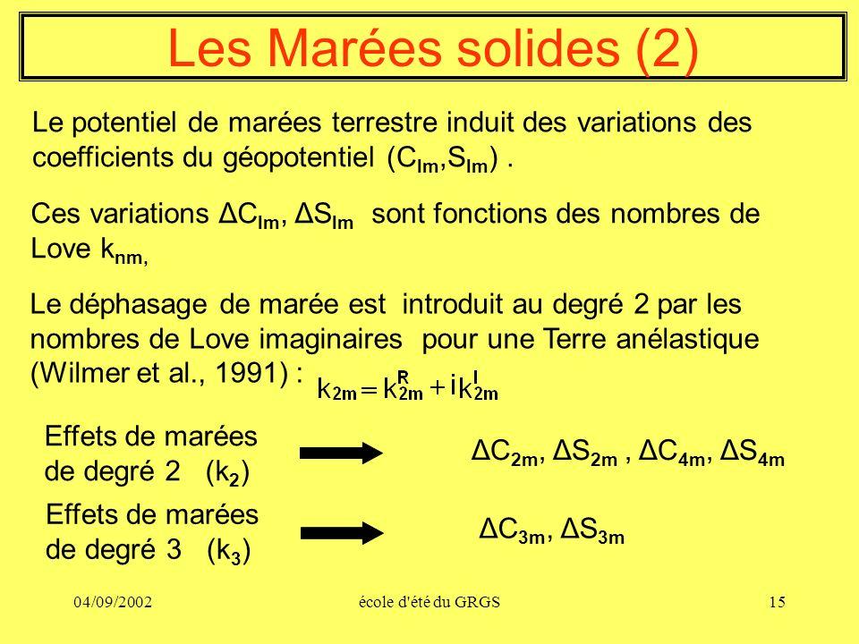 Les Marées solides (2) Le potentiel de marées terrestre induit des variations des coefficients du géopotentiel (Clm,Slm) .