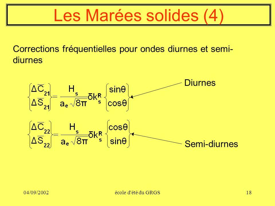 Les Marées solides (4) Corrections fréquentielles pour ondes diurnes et semi-diurnes. Diurnes. Semi-diurnes.