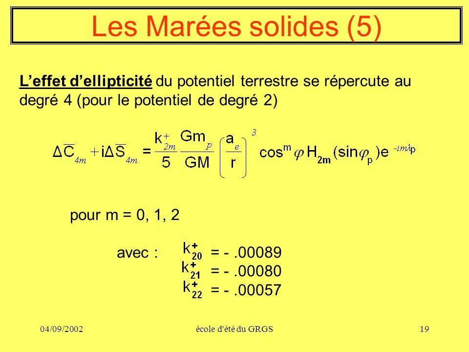 Les Marées solides (5) L'effet d'ellipticité du potentiel terrestre se répercute au degré 4 (pour le potentiel de degré 2)