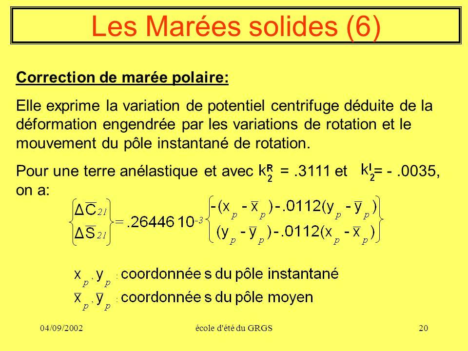 Les Marées solides (6) Correction de marée polaire: