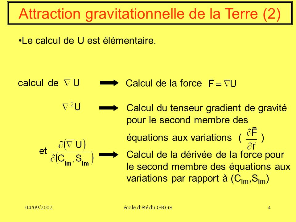 Attraction gravitationnelle de la Terre (2)