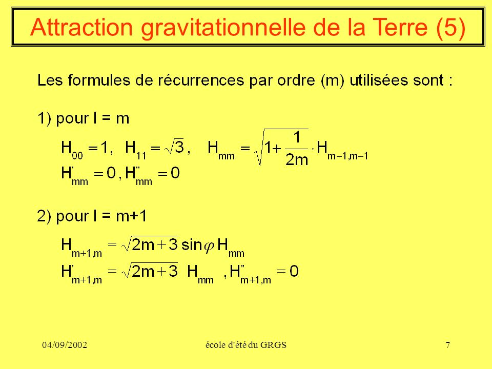 Attraction gravitationnelle de la Terre (5)