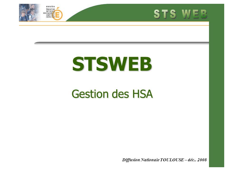 STSWEB Gestion des HSA Diffusion Nationale TOULOUSE – déc.. 2008