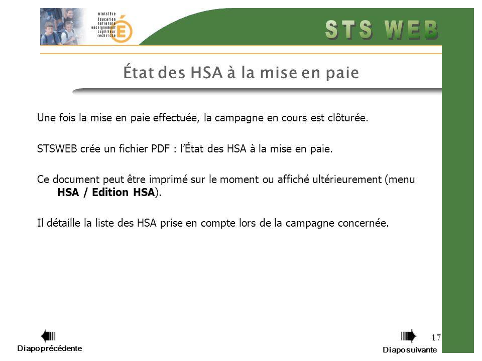 État des HSA à la mise en paie