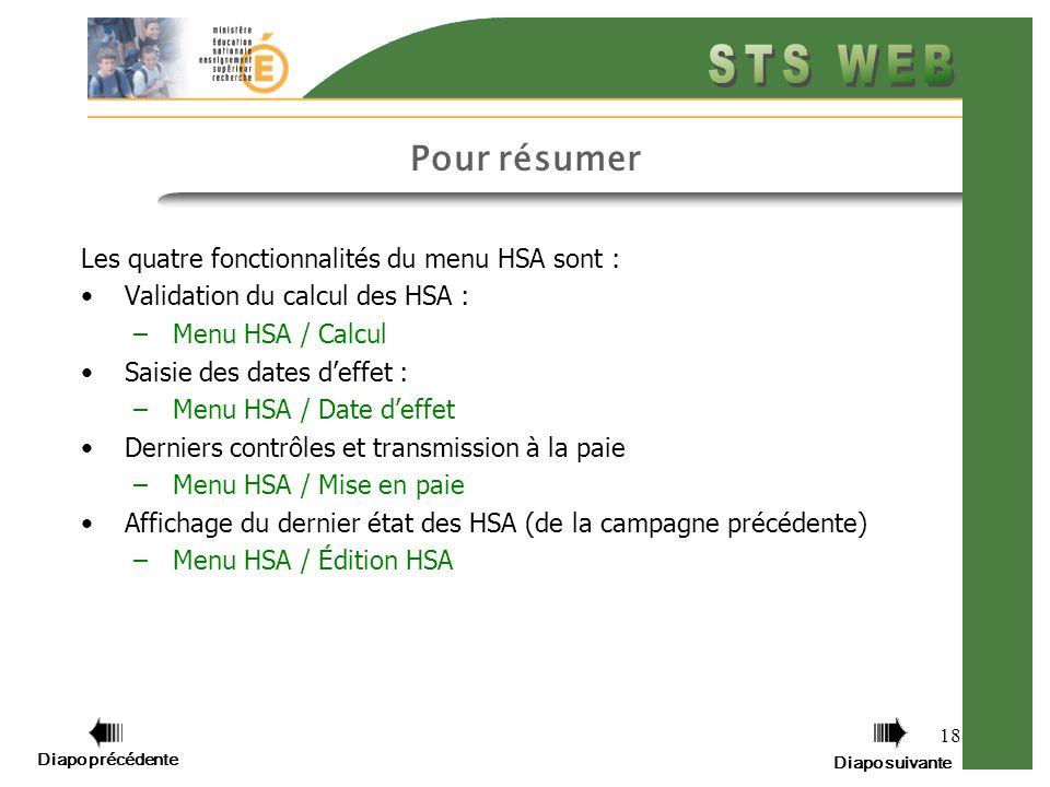 Pour résumer Les quatre fonctionnalités du menu HSA sont :