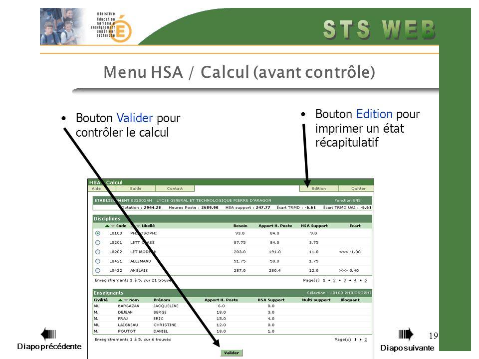 Menu HSA / Calcul (avant contrôle)