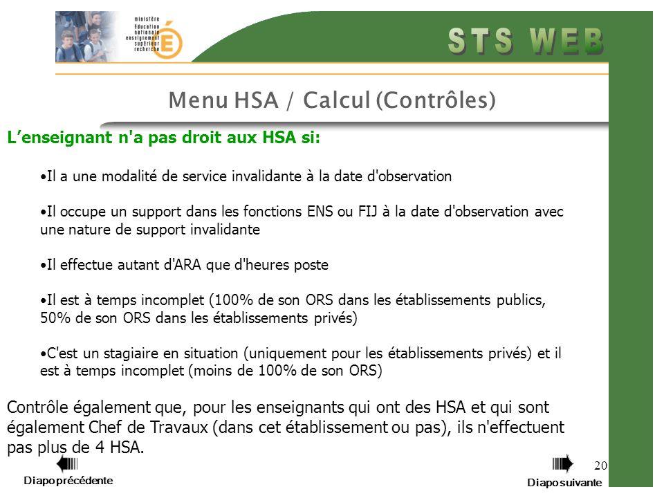 Menu HSA / Calcul (Contrôles)