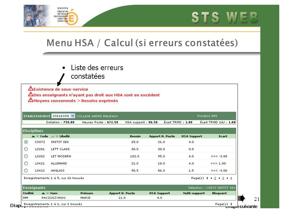 Menu HSA / Calcul (si erreurs constatées)