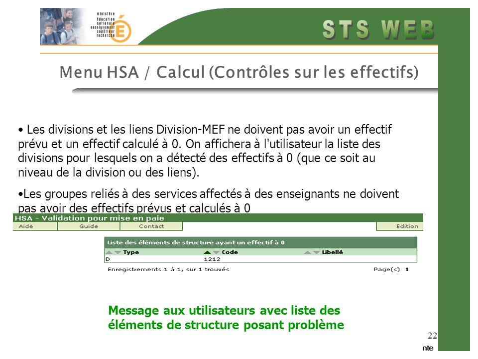 Menu HSA / Calcul (Contrôles sur les effectifs)