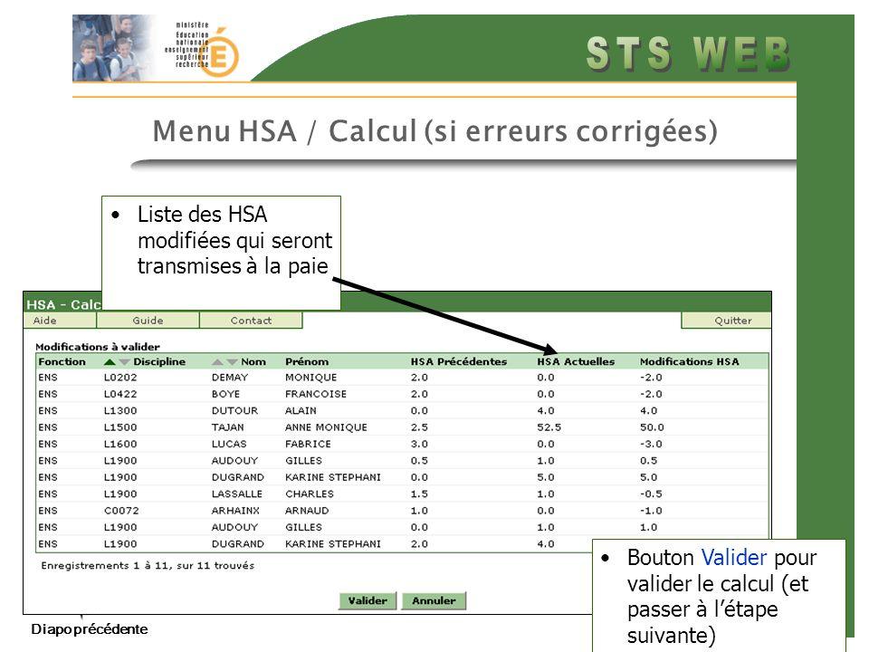 Menu HSA / Calcul (si erreurs corrigées)